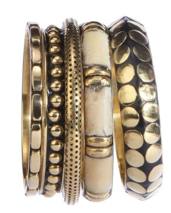 Black And White Metal Bangle Set For Women