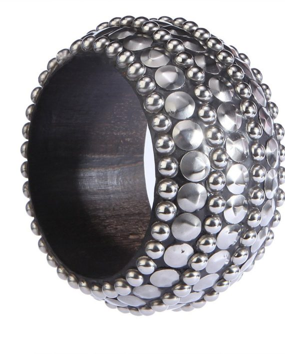 Black Bangle With Studded Beads For Women