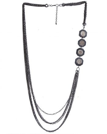 Black Metallic Crystal Trendy Chain For Women