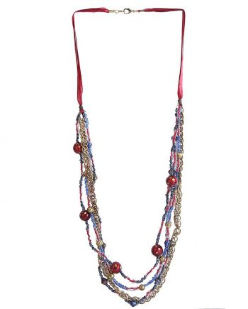 Glass Beads Enmeshed With Metal Chain For Women