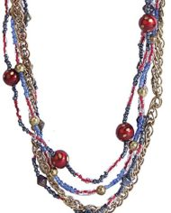 Glass Beads Enmeshed With Metal Chain For Women1