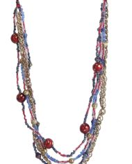 Glass Beads Enmeshed With Metal Chain For Women2