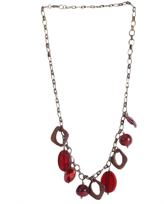 Metallic Chain With Hot Red Glass And Wood Beads For Women. Trendy ethnic wood necklace with a touch of classic Multi red brown colour
