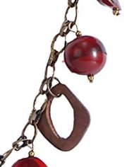 Metallic Chain With Hot Red Glass And Wood Beads For Women1