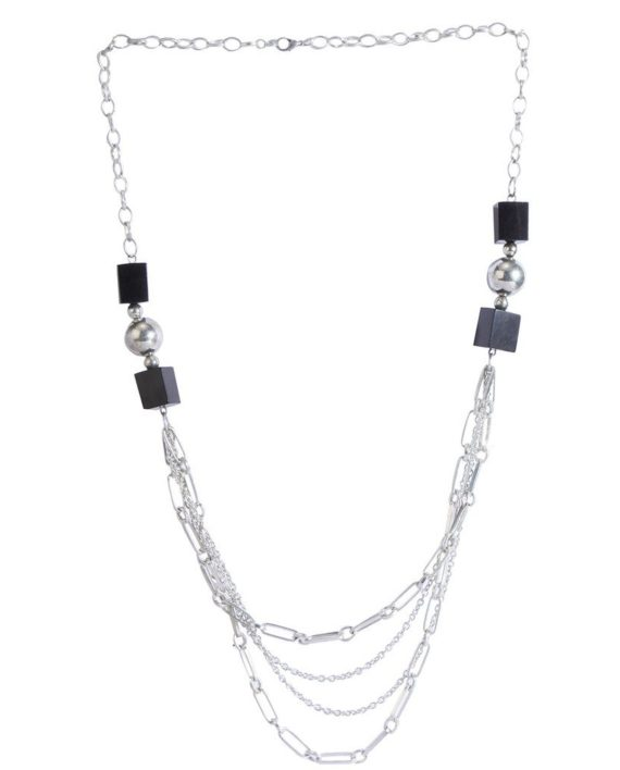 Silver Necklace With Black Cube Beads For Women