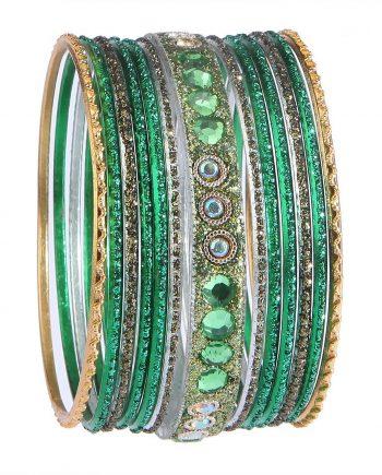 Sparkling Green Bangles For Women